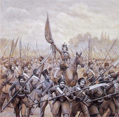 Emila_Plater_conducting_Polish_scythemen_in_1831.jpg